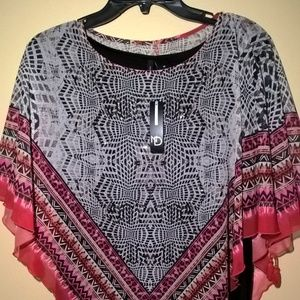 Black and Pink Overlay Top - Size M - NWT